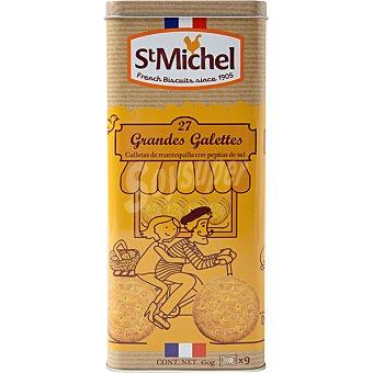 ST. MICHEL Galletas de mantequilla grandes con pepitas de sal 9 lata 450 g Pack de 3 unidades