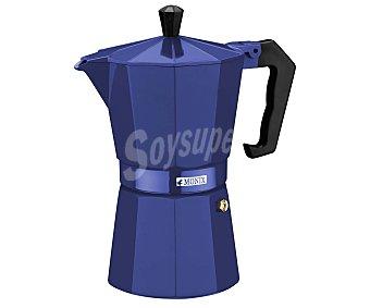 MONIX Cafetera italiana de 6 tazas fabricada en aluminio color azul cobalto, apta para vitrocerámicas 1 unidad.