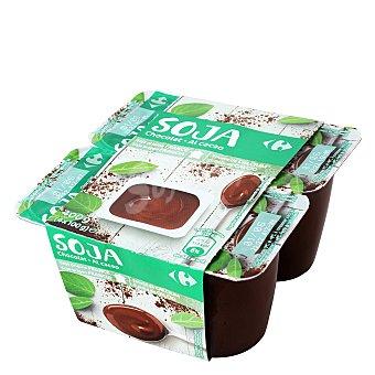 Carrefour Yogur de soja con chocolate Pack de 4x100 g