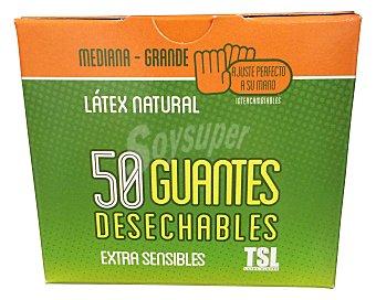 TSL Guantes desechables látex talla mediana / Grande Caja de 50 uds