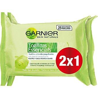 Skin Naturals Garnier toallitas desmaquillantes con agua de uva para todo tipo de piel (pack especial 2x1) pack 2 paquete 25 unidades