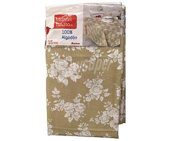 AUCHAN Mantel estampado floral color gris claro, 100% algodón, 150x250 centímetros 1 Unidad