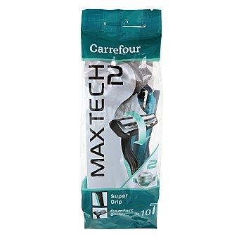 Carrefour Maquinilla desechable con cabezal pivotante bimaterial Maxtech 2 10 ud