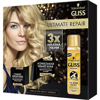 GLISS pack Ultimate Repair con champú + acondicionador frasco 250 ml + oil elixir diario frasco 75 ml para cabello seco y muy dañado frasco 300 ml