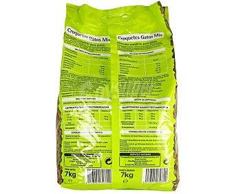 Productos Económicos Alcampo Alimento completo para gatos en forma de croquetas de cereales, carne y pescado 7 kilogramos