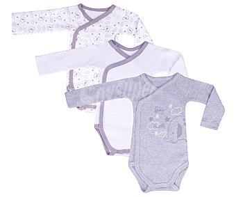 In Extenso Lote de 3 bodies cruzados de manga larga de algodón color gris, talla 62