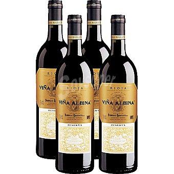 Viña Albina Vino tinto reserva D.O. Rioja caja de madera 4 botellas 75 cl