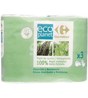 Carrefour Eco Planet Papel de cocina ecológico 3 ud
