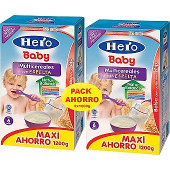 HERO BABY papilla multicereales con espelta paquete 2400 g pack ahorro 2x1200g