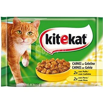 Kitekat Selección de carnes en gelatina para gato Pack 4 bolsas 100 g