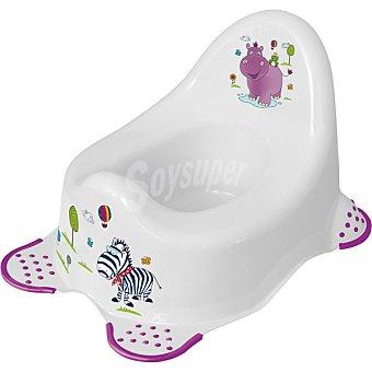 Plastimyr Orinal antideslizante blanco con dibujos de hipopotamo y zebra