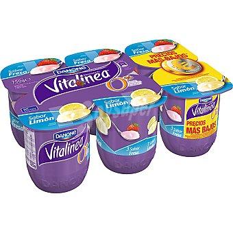 Danone Vitalinea Yogur desnatado sabor fresa 3 unidades + sabor limón 3 unidades pack 6 unidades 125 g 3 unidades