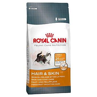 Royal Canin Hair & skin pienso especial para gatos adultos con aceites de borraja y soja bolsa 2 kg para un pelo más brillante y piel más sana Bolsa 2 kg
