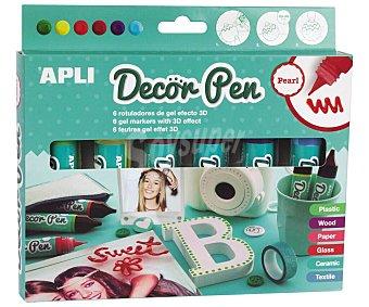 APLI Rotuladores de gel efecto 3D, Decorpen Pearl. Acabado perlado. appli Pack de 6