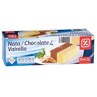 DIA Helado tres sabores nata/chocolate/vainilla bloque Envase 1 l (430g)