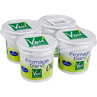Vrai Queso fresco natural con bifidus 0% Pack 4 unidades 100 g