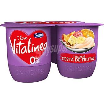 Vitalínea Danone Yogur desnatado 0% plus cesta de frutas con trozos pack 4 unidades 125 g Pack 4 unidades 125 g