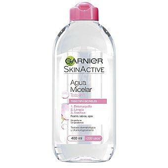 Skin Naturals Garnier Agua Micelar Todo en 1 desmaquilla limpia y tonifica rostro labios y ojos sin perfume frasco 400 ml para todo tipo de piel Frasco de 400 ml