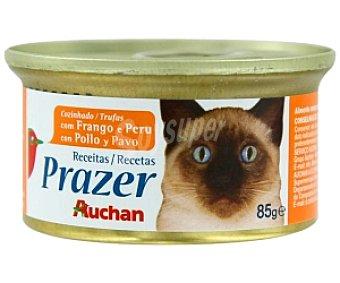 Auchan Alimento completo para gatos con pollo y pavo 85 gramos