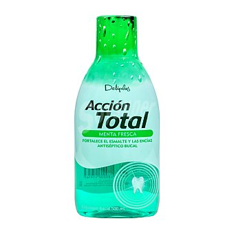 Deliplus Enjuague bucal accion total sabor menta fresca (verde) Botella 50 cl