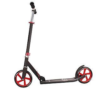 NIJDAM Patinete Scooter Urbano, Plegable, Color Negro y Rojo 1 Unidad