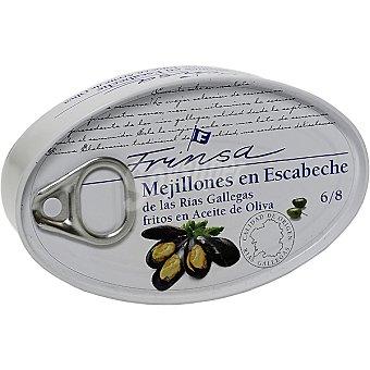 Frinsa Mejillones en escabeche fritos en aceite de oliva de las rías gallegas 6-8 piezas  Lata 69 g neto escurrido