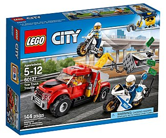 LEGO City Juego de construcciones con 144 piezas Camión grúa en problemas, City 60137 lego