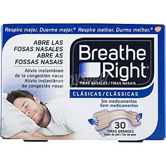 Breathe Right Tiras nasales clásicas para la congestión nasal y antirronquidos caja 30 unidades 30 unidades