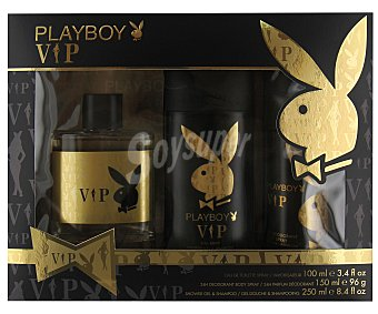 PLAYBOY VIP Estuche para hombre con colonia spray (100ml), desodorante spray (150ml) y gel-champú (250ml) 1 unidad
