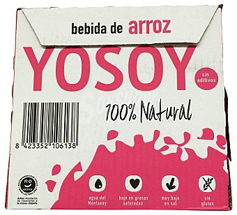 Yosoy Bebida arroz sin azucares añadidos 100% natural 6 bricks de 1 L