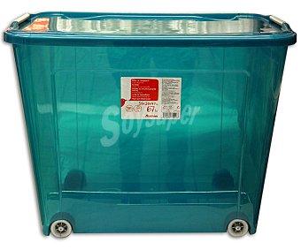 AUCHAN Caja con ruedas con tapa, capacidad de 67 litros fabricada en plástico azul, 59,3x38x47 centímetros 1 Unidad