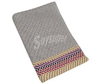 Actuel Toalla de tocador 100% algodón, 550g/m² de densidad, color gris con cenefa jacquard multicolor ACTUEL. 550g