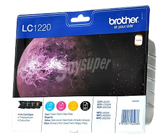 BROTHER Pack de cartuchos LC1220, Negro, cian, magenta y amarillo, compatible con impresoras: DCP-J525W, DCP-J725DW, DCP-J925DW, MFC-J430, MFC-J626, MFC-J825DW