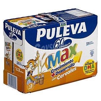 Puleva Max Leche de crecimiento y desarrollo, enriquecida con cereales, calcio, hierro, 12 vitaminas y Omega 3 Pack 6 briks x 1 l