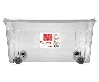 Auchan Caja de ordenación multiúsos con ruedas y tapa, 43 litros de capacidad 58x38x29 centímetros 1 unidad