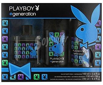 PLAYBOY Generation Estuche para hombre con colonia spray (100ml), desodorante spray (150ml) y gel-champú (250ml) 1 unidad