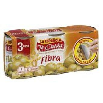 La Española Aceitunas rellenas con fibra Pack 3x50 g
