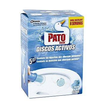 Pato Desinfectante WC discos activos de gel frescor marino aparato + recambio 6 unidades precio especial