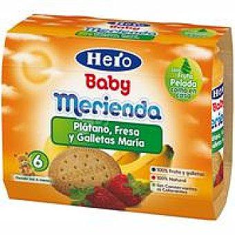 Hero Merienda de plátano-fresa-galleta Pack 2x200 g