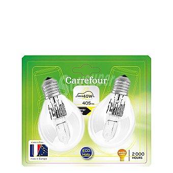 Carrefour Pack de Bombillas Halógenas Eco Esférica 30w con Casquillo de Rosca E27 2 ud