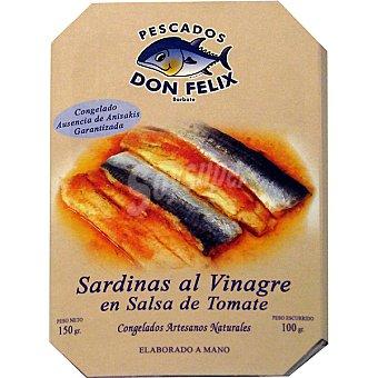 Don felix sardinas al vinagre en salsa de tomate  bandeja 100 g