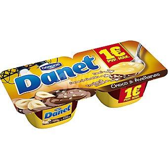 Danet Danone natillas de vainilla con chocolate y avellanas pack 2 unidades 115 g