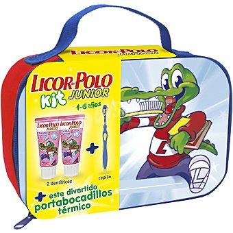 LICOR DEL POLO Junior kit compuesto por pasta dentífrica júnior de fresa de 1 a 6 años + cepillo de dientes + neceser portalapiceros pack 2 tubo 50 ml