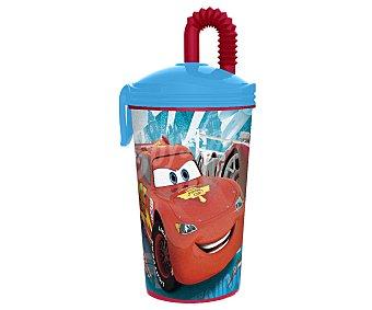 Disney Vaso de caña con tapa y pajita de polipropileno con ilustraciones de Cars Racing Sprt Network 1 Unidad