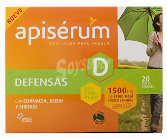 APISERUM Jalea real fresca con echinacea, reishi y shitake especial para las defensas 20u