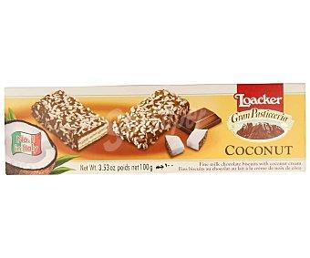 Loacker Galletas rellenas de crema de coco cubiertas con chocolate con leche y trocitos de coco 100 g