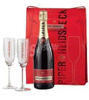 Piper Heidsieck Estuche con 1 Champagne + 2 copas de regalo 75 cl