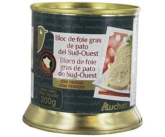 Auchan Bloque de foie-gras de pato del suroeste con trozos 200 gramos