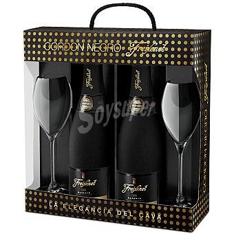 Freixenet Cava semiseco Cordon Negro estuche Estuche 2 botellas 75 cl con regalo de 2 copas