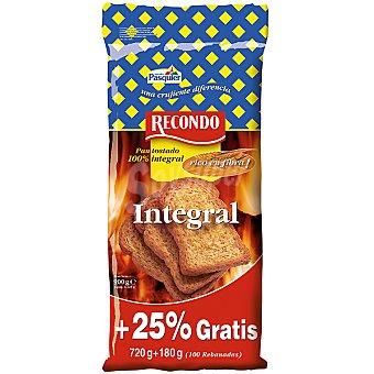 Recondo pan tostado 100% integral rico en fibra formato ahorro 100 rebanadas Paquete 900 g